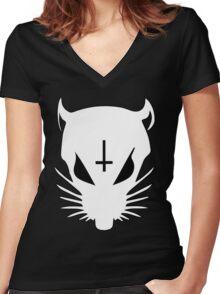 white ZEF Rat Women's Fitted V-Neck T-Shirt