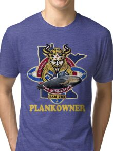 SSN-783 USS Minnesota Plank Owner Crest for Dark Colors Tri-blend T-Shirt