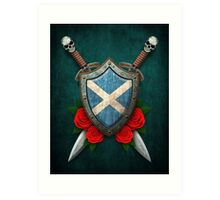 Scottish Flag on a Worn Shield and Crossed Swords Art Print
