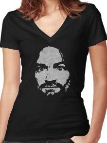 Charles Manson Women's Fitted V-Neck T-Shirt