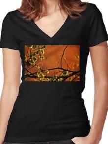 Backlit Branch Women's Fitted V-Neck T-Shirt