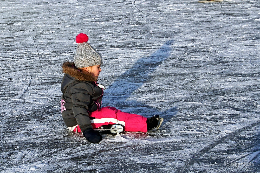 Little Girls First Lesson in Ice Skating by Jo Nijenhuis