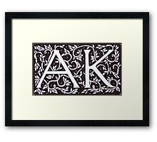 William Morris Inspired A K Monogram Framed Print