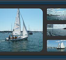 Newport Boat Collage by Jane Neill-Hancock