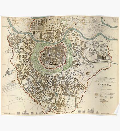 Vintage Map of Vienna Austria (1833) Poster