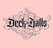Elegant Pink Black Christmas Carol 'Deck the Halls' Tattoo Hand Lettering Calligraphy by 26-Characters
