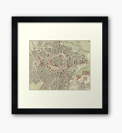 Vintage Map of Vienna Austria (1883) Framed Print