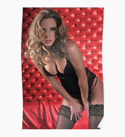 Sexy Lingerie Model posing pretty at red studio vintage background  Poster