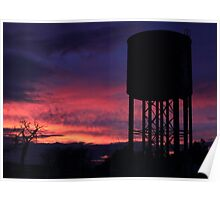 Trackside Water Tower at Sunset Poster