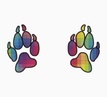 Rainbow paw prints by HappyMassacre