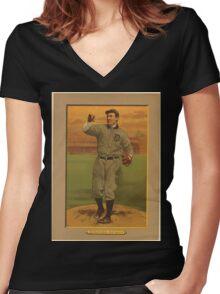 Benjamin K Edwards Collection Wild Bill Donovan Detroit Tigers baseball card portrait Women's Fitted V-Neck T-Shirt
