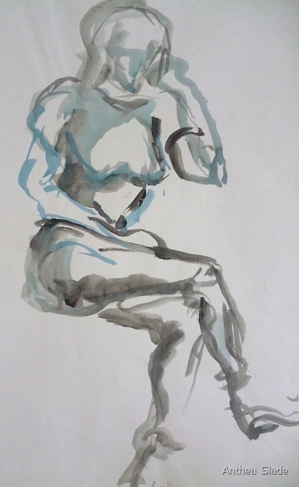 Considered and Deliberate Thought  - Blue Series by Anthea  Slade