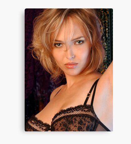 Beautiful blond woman in black bra Canvas Print