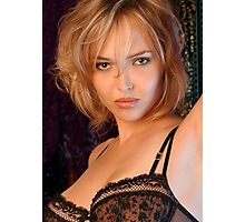 Beautiful blond woman in black bra Photographic Print
