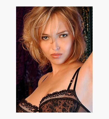 Beautiful blond woman in black bra Photographic Print