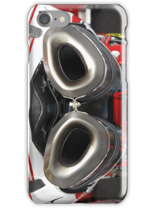 Exhaust for Ducati Factory Superbike iPhone Case by corsefoto