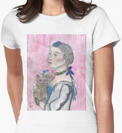 Madame Avec Une Chat. Womens Fitted T-Shirt