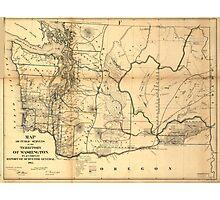 Vintage Map of Washington State (1866) Photographic Print