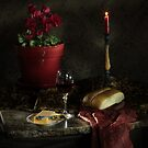 Red Cyclamen with Bread and Candle by FrankSchmidt