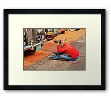 WOMAN AND CAMERA Framed Print