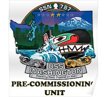 SSN-787 USS Washington Pre-commissioning Unit Crest Poster