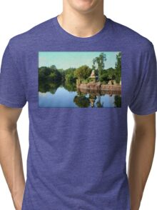 Asian Landscape Reflection in Water Tri-blend T-Shirt