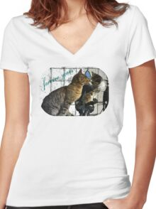 Cats in love Women's Fitted V-Neck T-Shirt