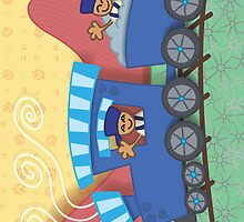 Twin's Train Greeting Card by Janet Antepara