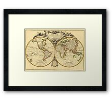 Old Fashioned World Map (1782) Framed Print