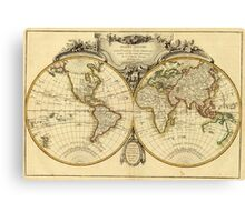 Old Fashioned World Map (1782) Canvas Print
