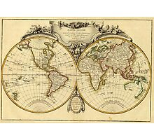 Old Fashioned World Map (1782) Photographic Print