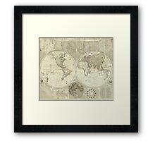 Vintage Map of The World (1787) Framed Print