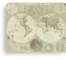 Vintage Map of The World (1787) Canvas Print