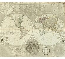 Vintage Map of The World (1787) Photographic Print