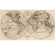 Old Fashioned World Map (1795) Photographic Print