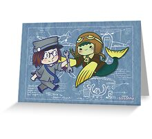 Chibi Bird and Fish Greeting Card