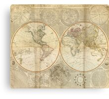 Vintage Map of The World (1799) 2 Canvas Print