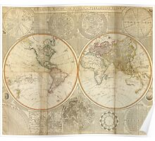 Vintage Map of The World (1799) 2 Poster