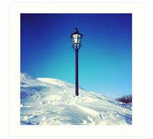 Old Lamp Post in Snow with Blue Sky Art Print