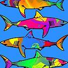 Colorful Sharks by ChrisButler