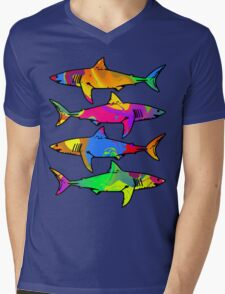 Colorful Sharks Mens V-Neck T-Shirt