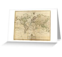 Vintage Map of The World (1800) Greeting Card