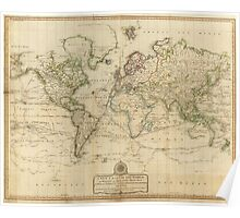 Vintage Map of The World (1800) Poster
