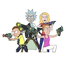Rick and Morty-- Gun fight Photographic Print