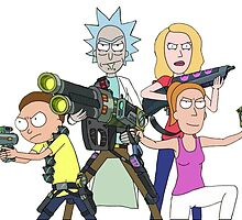 Rick and Morty-- Gun fight by lovecooks