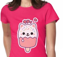 Strawberry Kitty Cat Popsicle Womens Fitted T-Shirt
