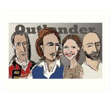 Cartoons of characters from Outlander Art Print
