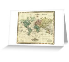 Vintage Map of The World (1823) Greeting Card