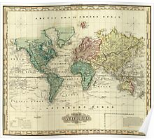 Vintage Map of The World (1823) Poster
