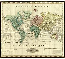 Vintage Map of The World (1823) Photographic Print